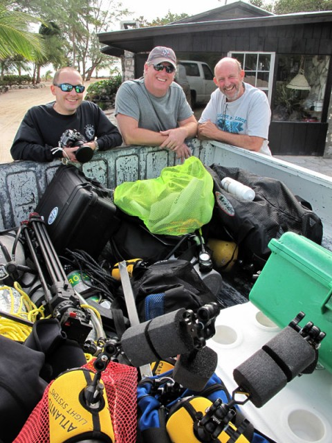 Todd, Cameraman Tim and Jeff Birch with a loaded truck ready to head out to Stargate!