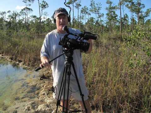 Cameraman Tim filming at Cousteau's Blue Hole