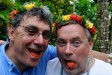 Jonathan and Pierre have red tongues from Betel nut, Yap, Micronesia.