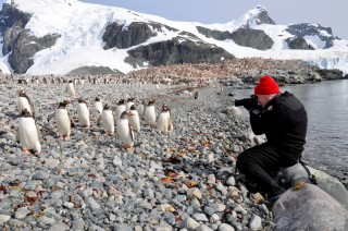 Jonathan photographing penguins in Antarctica. Photo by Julia Cichowski.