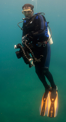 Cameraman Bill, our only real marine biologist, on location in Oman. Photo by .