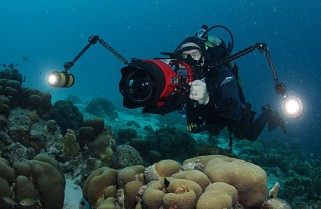 Jonathan filming on the reefs of Bonaire. Photo by David Haas.