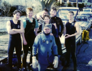 Jonathan (far left) after his checkout dives, 1988. Photo by unknown.